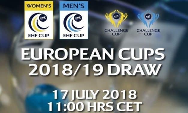 Приключи жребият за разпределението на двойките отбори в EHF Men's Challenge Cup 2018/19